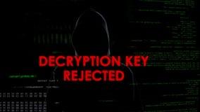 Tentative rejetée de décryptage et infructueuse principale d'entailler le compte, codeur dans le hoodie photos stock