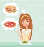 Tentazione di cibo di dieta Fotografie Stock Libere da Diritti