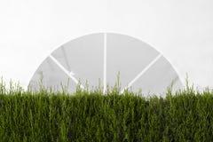 Tente blanche d'auvent dans un jardin décoré de quelques usines et brosses pour un événement l'espace vide de copie photographie stock libre de droits