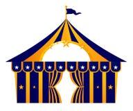 Tente bleue de cirque d'isolement sur le blanc illustration de vecteur