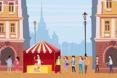Tente commerciale, compteur de crème glacée, vendeur sous un auvent, composition extérieure, ville, vendant la crème glacée, bois illustration stock