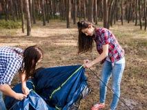Tente d'installation de soutien d'aide d'ami ensemble Image stock