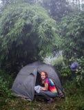 Tente dans les bois sur le cheminement Images stock