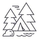 Tente de camping dans la ligne icône, signe, illustration de vecteur de forêt sur le fond, courses editable illustration de vecteur