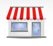 Tente de devanture de magasin en rouge Images libres de droits