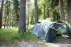 Tente de touristes dans la forêt d'été Images libres de droits