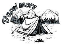 tente du su de région de montagnes de gorge d'elbrus de Caucase d'adyl Images libres de droits