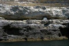 Tente en falaises de mer Photographie stock