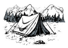 Tente en montagnes, paysage de montagne Photo stock