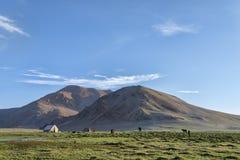 Tente et chevaux en montagnes Image libre de droits