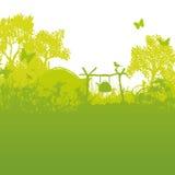 Tente et terrain de camping dans l'herbe et les tentes dans la forêt illustration stock