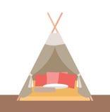 Tente-hutte pour des jeux du ` s d'enfants Images libres de droits