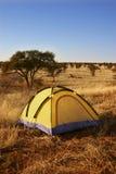 Tente jaune dans la région sauvage. Photo stock