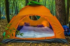 Tente orange de voyage dans la forêt d'été photographie stock libre de droits