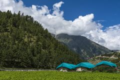 Tented accomodation in Spiti Valley. In Himachal Pradesh India stock images