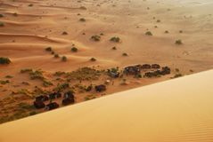 Tented camp on the desert. Erg Chebbi, Sahara, Mor Royalty Free Stock Images