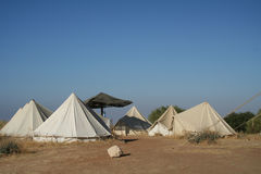 Tenten bij een kampeerterrein Stock Afbeeldingen