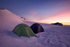 Tenten in de sneeuw Stock Afbeeldingen