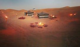 Tentes dans le désert Arabe Photos libres de droits