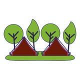 Tentes de camping dans la forêt illustration libre de droits