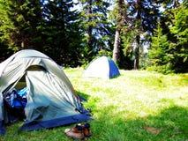 Tentes de touristes dans les bois photo stock