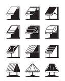 Tentes et auvents se pliants des bâtiments illustration stock