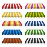 Tentes réglées d'isolement sur le fond blanc Parasol coloré rayé pour des boutiques Images libres de droits