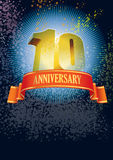 Tenth anniversary. Background with design elements for the poster celebrating tenth anniversary royalty free illustration