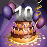 Tenth anniversary cake. With numbers, candles and balloons royalty free illustration