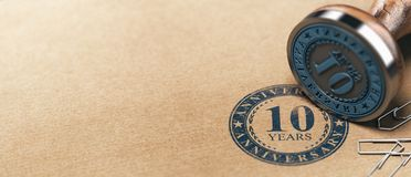 Tenth Anniversary Horizontal Background, One Year Celebration Card royalty free stock images