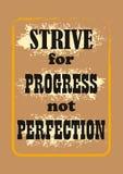 Tenti d'ottenere la perfezione di progresso non che segna il manifesto con lettere royalty illustrazione gratis