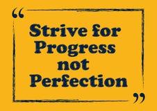 Tenti d'ottenere la perfezione di progresso non che segna il manifesto con lettere illustrazione vettoriale