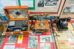 Tentoongestelde voorwerpen van het Museum van de Geschiedenis van de Centrale Telegraaf, Moskou, Rusland Royalty-vrije Stock Afbeelding