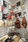 Tentoongestelde voorwerpen van het Museum van de Geschiedenis van de Centrale Telegraaf, Moskou, Rusland Stock Fotografie