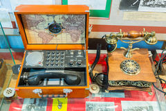 Tentoongestelde voorwerpen van het Museum van de Geschiedenis van de Centrale Telegraaf, Moskou, Rusland Stock Afbeeldingen