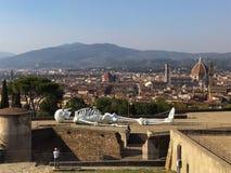 Tentoonstelling bij Belvedere Fort en cityscape van Florence op achtergrond, Toscanië, Italië stock afbeeldingen