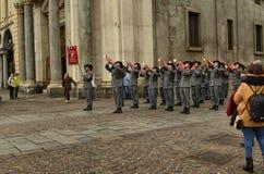 Tentoonstelling door de militaire korpsen van Bersaglieri royalty-vrije stock afbeelding