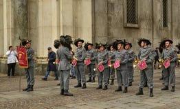 Tentoonstelling door de militaire korpsen van Bersaglieri royalty-vrije stock foto's