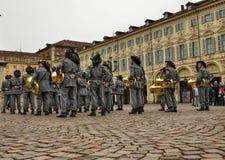 Tentoonstelling door de militaire korpsen van Bersaglieri royalty-vrije stock fotografie