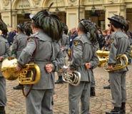 Tentoonstelling door de militaire korpsen van Bersaglieri stock fotografie