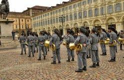 Tentoonstelling door de militaire korpsen van Bersaglieri stock foto