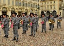 Tentoonstelling door de militaire korpsen van Bersaglieri royalty-vrije stock afbeeldingen