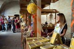 Tentoonstelling van deegwaren in Italië Stock Foto's