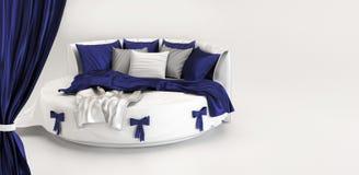 Tentoonstelling van modern bed. Binnenland van wit Royalty-vrije Stock Afbeeldingen