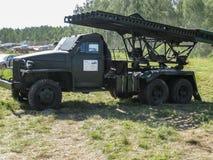 Tentoonstelling van uitstekende militaire uitrusting in het Kaluga-gebied in Rusland op 26 Juni 2016 Royalty-vrije Stock Fotografie