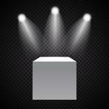 Tentoonstellingsconcept, Witte Lege Doos, Tribune met Verlichting op Gray Background Malplaatje voor uw inhoud 3d vector Stock Afbeelding