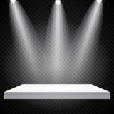 Tentoonstellingsconcept, Witte Lege Plankentribune met Verlichting op Gray Background Malplaatje voor uw inhoud 3d Vecto Royalty-vrije Stock Afbeelding
