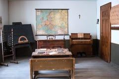 Tentoonstellingsgebied als klaslokaal met kaart wordt gestileerd die Royalty-vrije Stock Fotografie