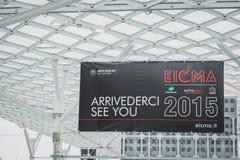 Tentoonstellingsteken bij EICMA 2014 in Milaan, Italië Stock Afbeelding