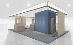 Tentoonstellingstribune in het Blauwe en Beige kleuren 3d Teruggeven Stock Afbeeldingen